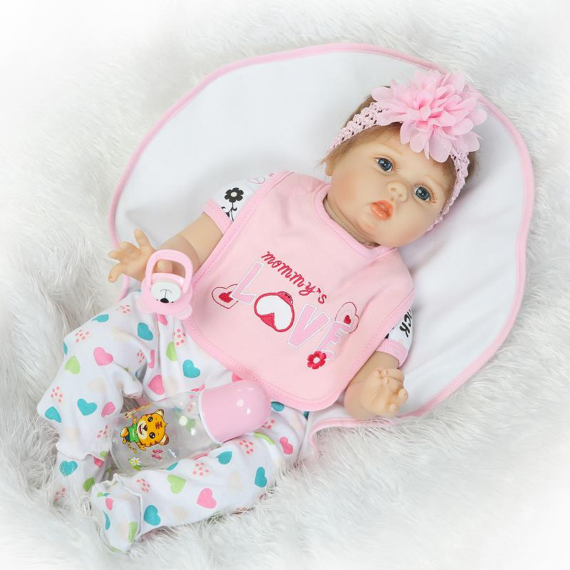 Silicone 22 Inch Handmade Reborn Babies Doll Looking Real Newborn Girl Doll 55cm Baby Reborns Kids Birthday Xmas Fashion Gifts 22 inch silicone reborn babies doll handmade newborn girl doll looking real baby reborns kids birthday xmas gift