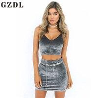 GZDL Velvet Summer Women Sexy Zipper Back Top Skirt Set Fashion Strap Deep V Backless Crop