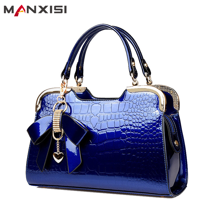 MANXISI Brand Women Top-Handle Bags Ladies Leather Handbags With Bow Blue Patent