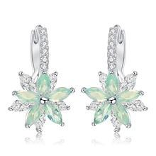 Купить с кэшбэком Fashion Cubic Zirconia Fancy Crystal Flower Stud Earrings Jewellery Valentine Day Gifts  For Women Girls Bohemia Bijoux
