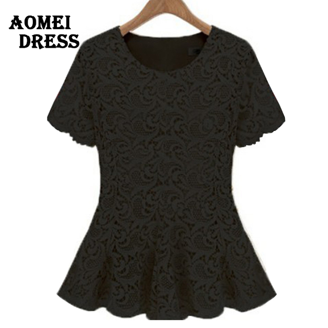 4XL Plus size Lace Crochet Vintage Tee Shirts Girl summer Cute Rose Black  white lacy womens