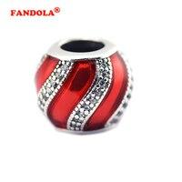 מתאים פנדורה צמיד אמייל קסמי כסף עם קישוט שקוף אדום & נקה CZ כסף סטרלינג 925--תכשיטי DIY חרוזים FL475