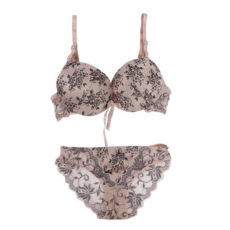 e996a62ce57 ht Sexy Women Push Up Lace Bra Set Briefs Floral Bowknot Bra +See Through  Briefs Underwear Sexy Lingerie S4-in Bra & Brief Sets from Underwear &  Sleepwears ...