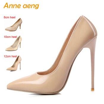 12 cm Saltos Altos finos Mulheres Bombas Rasa Dedo Apontado Mulheres Sapatos de Noiva Sapatos de Casamento Sexy Ladies Saltos Altos Nua tamanho grande 34-46