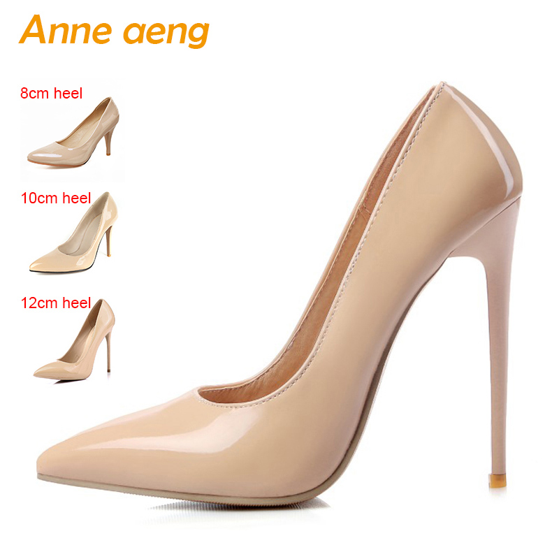 12cm High thin Heels Women Pumps Pointed Toe Shallow Bridal Wedding Shoes Sexy Ladies Women Shoes Nude High Heels Big Size 34-46 sexy glitter women shoes metal heel sequined shoes pumps 8cm or 10cm or 12cm high heels pointed toe wedding bridal shoes