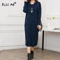 2017 New Arrival Women Autumn And Winter Dress Long Sleeve Round Neck Solid Gray Navy Blue