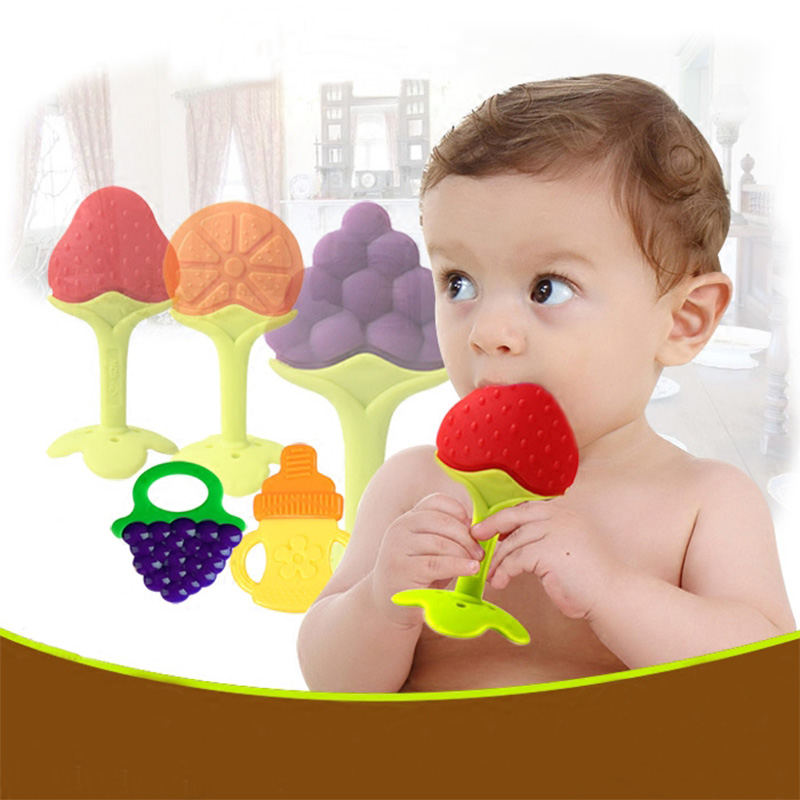 Baby Teether Fruit and Vegetable Shape Stick Chews Silicone Infant Bebe Ատամների խոզանակ