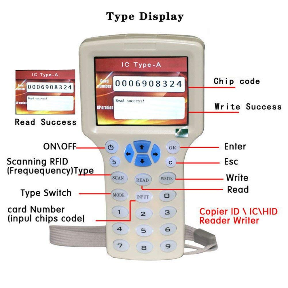 RFID NFC карточный копировальный считыватель писатель Дубликатор английский 10 Частотный программатор для IC ID карт и всех 125 кГц карт + 5 шт ID 125k