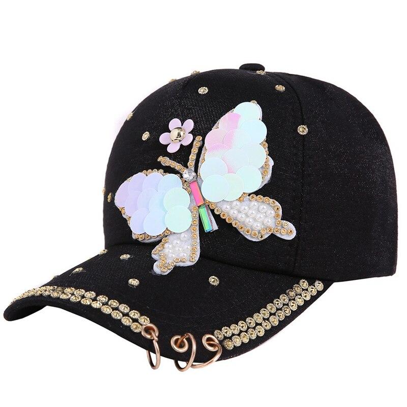 Femmes Casquette De Baseball Papillon Perle Paillettes vintage Snap Back Design Casual Hat