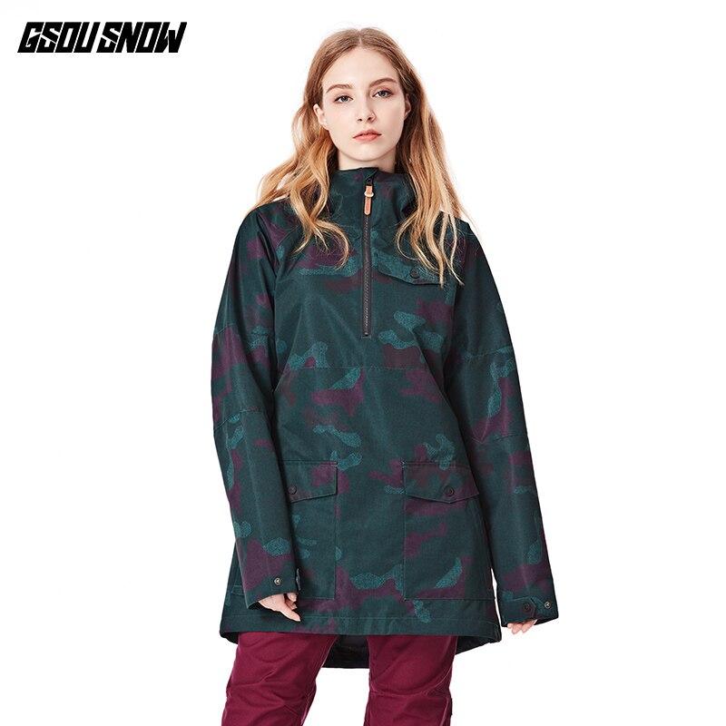 Gsou combinaison de ski de neige veste d'hiver nouveau style coupe-vent imperméable respirant double planche snowboard dames veste de ski