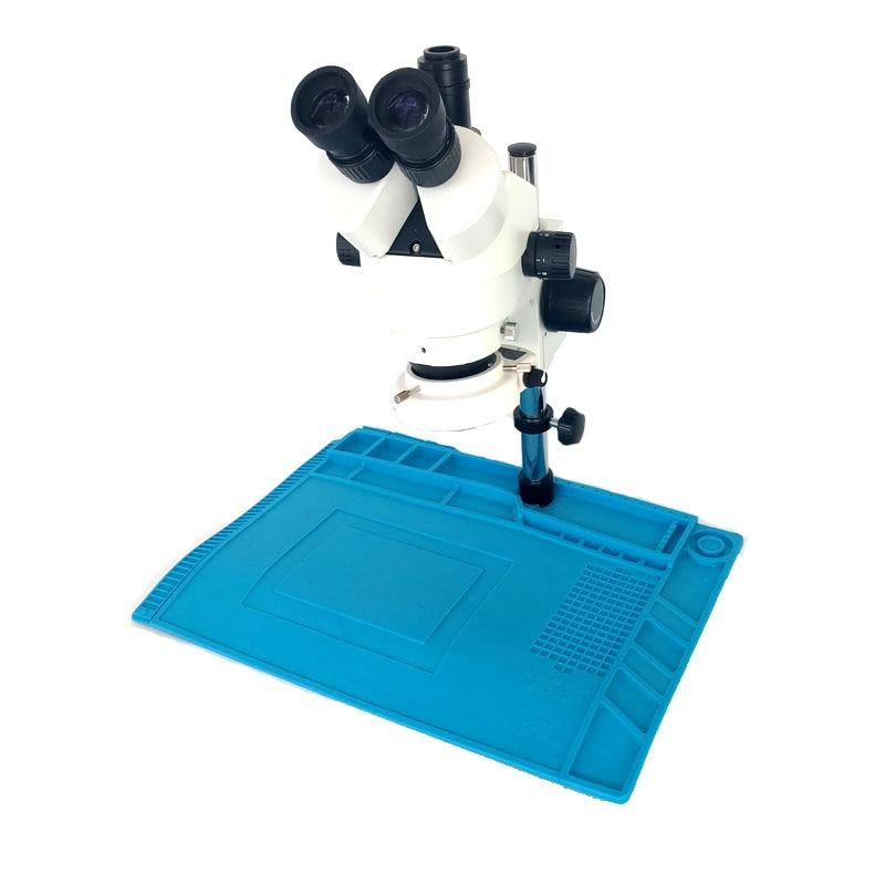 Continue binocular zoom 7-45X Trinocular stereo microscope soldering resistant heating pad BGA IC phone repair