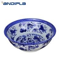 Jingdezhen Thicken Ceramic Soup Noodle Bowl Blue and White Porcelain Big Ramen Bowl Anti Spill Mixing Bowl Fruit Salad Container