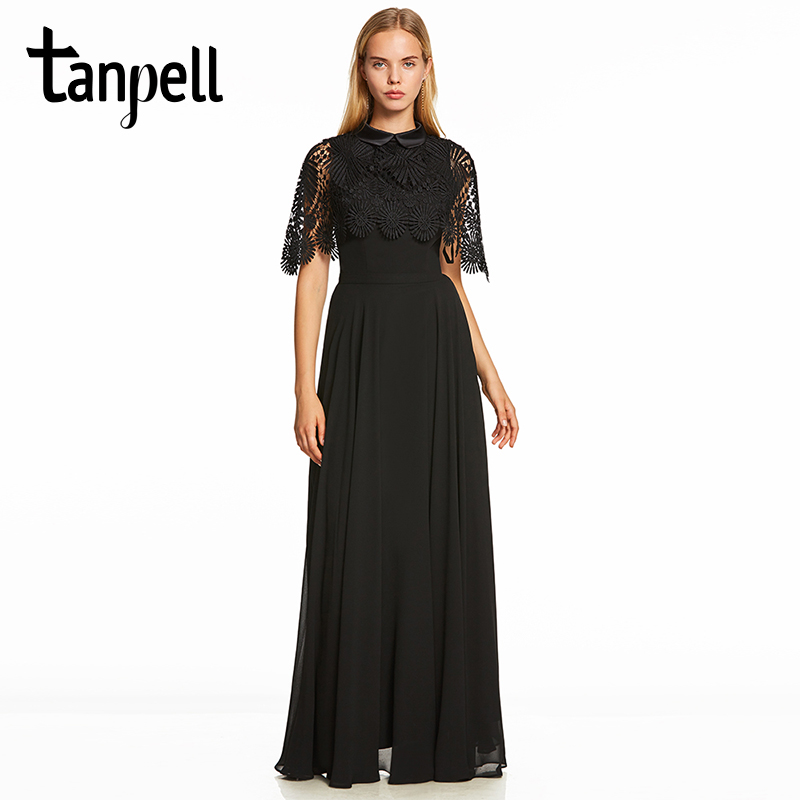 Tanpell high neck lace evening dress elegant black half sleeves floor length a line gown women homecoming formal evening dresses