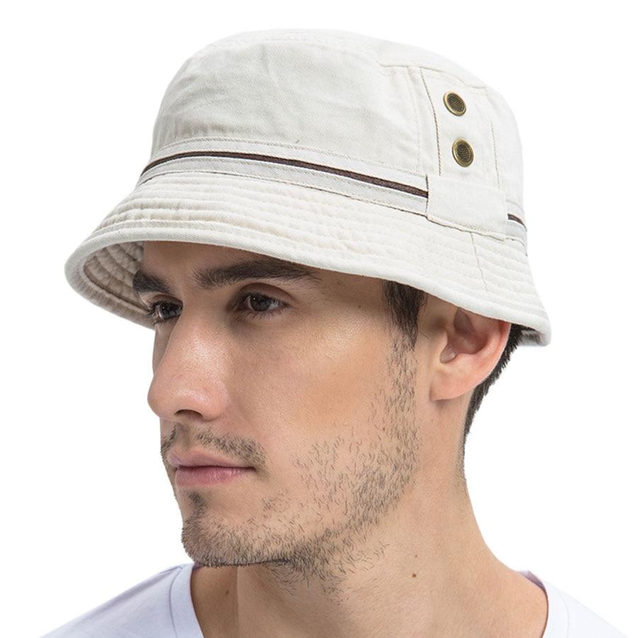 d30793ecafcc3 VOBOOM Summer Beige Bucket Hat Men Plain Solid Wide Brim Twill Cotton  Boonie Giggle Hats Eyelets