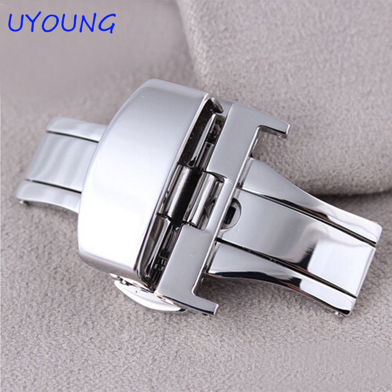 цены на 16mm 18mm 20mm 22mm New High Quality Polished Silver Stainless Steel Butterfly Deployment Clasp Buckle For Watch Strap Band в интернет-магазинах