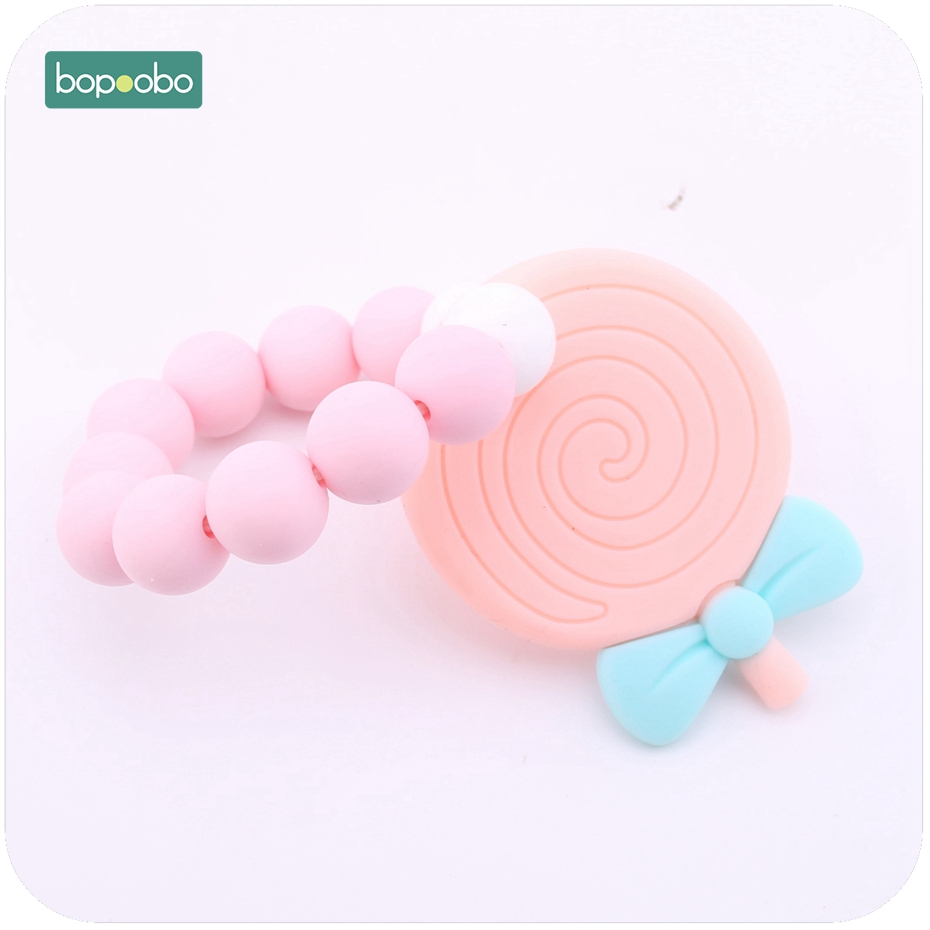 Bopoobo 1PC BPA Free Candy Color Lollipop Shape Teethers Kids Chew Toys Silicone Bracelet Teething Infant Baby Teether