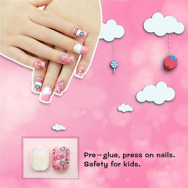 24pcs Press On Children Candy False Nail Tips Cartoon 2full Cover