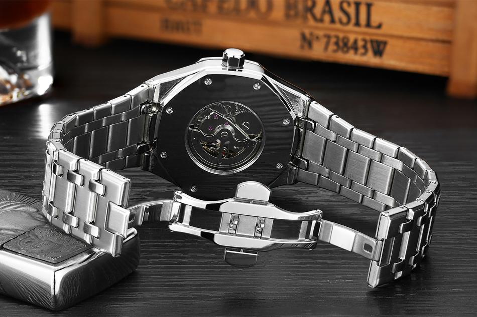 Montre automatique bracelet en acier inoxydable