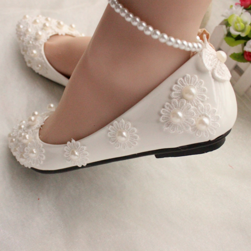 White Lace Pearls Women Wedding Shoes Flat Heel Sexy Pearls Bandage Women  Bridal Shoes Big Size 34 44-in Women s Flats from Shoes on Aliexpress.com  ... 8e6276cdcbd2