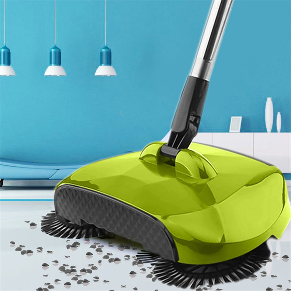 5Pc GREEN Color Stainless Steel Sweeping Machine Push Type Magic Broom Dustpan Handle Household Vacuum Cleaner Hand Push Sweeper