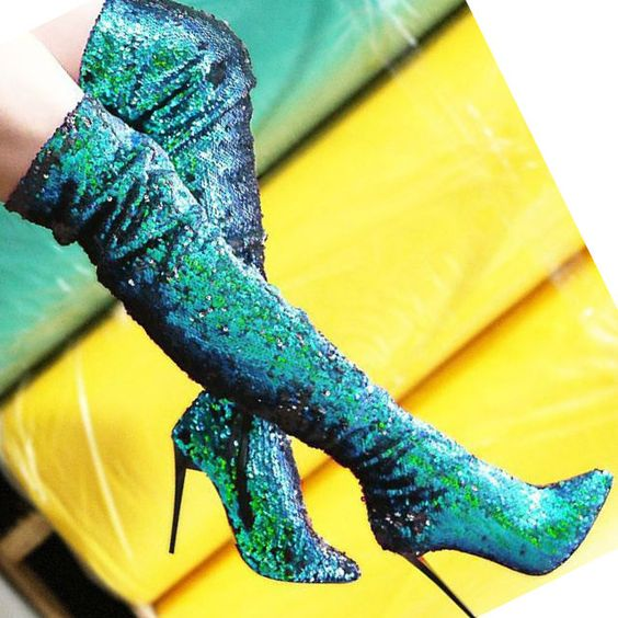 Spring Fashion Green/Blue Glitter Boots Sexy Pointed Toe Ladies High Heel Boots Zipper Side Female Knight Style Boots Size 41 new 2017 spring summer women shoes pointed toe high quality brand fashion womens flats ladies plus size 41 sweet flock t179