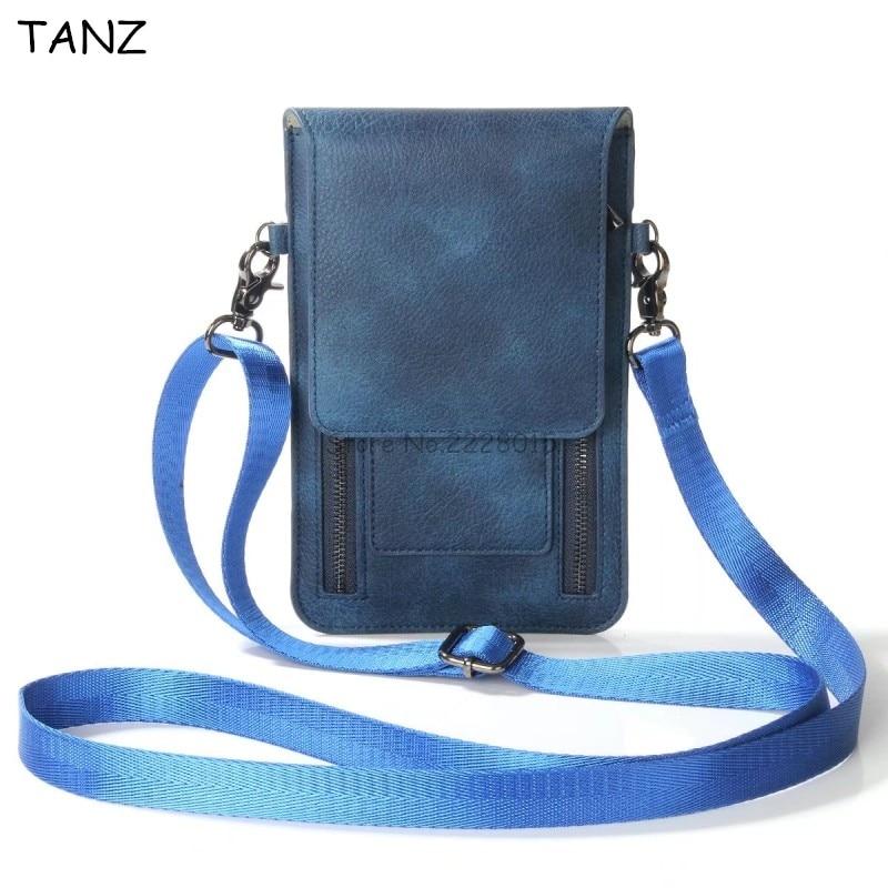 TANZ Universal Leather <font><b>Cell</b></font> <font><b>Phone</b></font> Bag Shoulder Pocket Wallet Pouch <font><b>Case</b></font> Neck Strap For <font><b>Iphone</b></font> X 8 7 <font><b>6</b></font> plus For Samsung S8 Note8