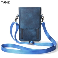 TANZ Universal Leather Cell Phone Bag Shoulder Pocket Wallet Pouch Case Neck Strap For Iphone X 8 7 6 plus For Samsung S8 Note8