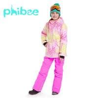 Phibee Ski Anzug Baby Mädchen Kleidung Warme Wasserdichte Winddicht Snowboard Sets Winter Jacke Kinder Kleidung Kinder Kleidung