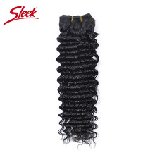 Sleek Hair Deep Wave Brazilian Hair Weave Bundles 1 Piece Deals 10 To 28 Inch Natural Color 100% Virgin Human Hair Extensions(China)