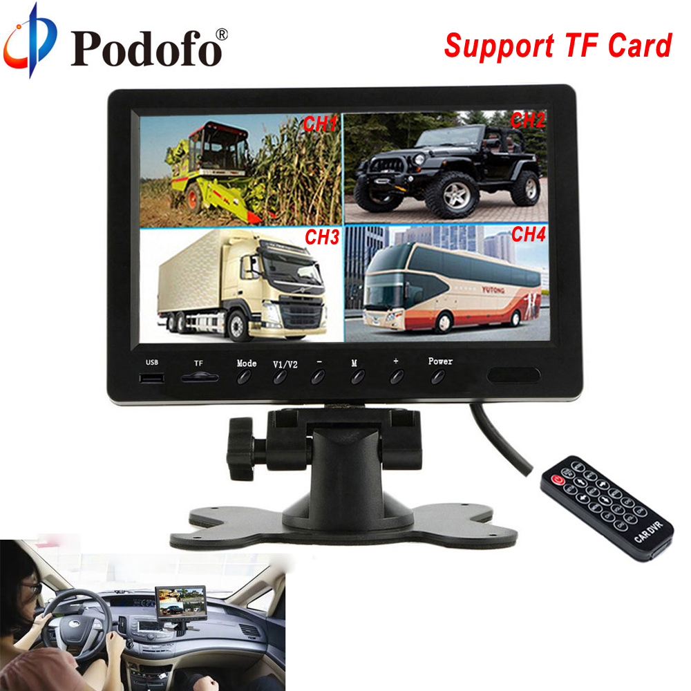 Podofo 9 TFT LCD Split Screen Quad Car Monitor CCTV Security Surveillance Display With Micro SD Card Recording Parking Monitor original a1419 lcd screen for imac 27 lcd lm270wq1 sd f1 sd f2 2012 661 7169 2012 2013 replacement