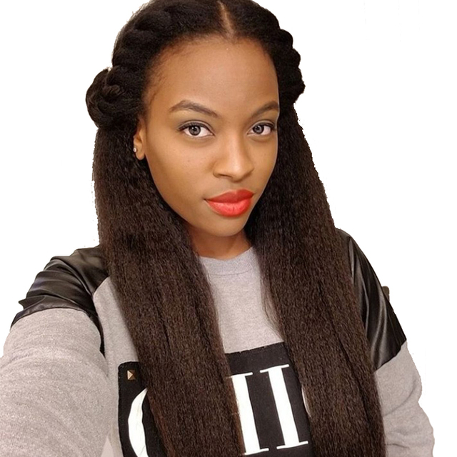 Kinky Straight Clip Ins Human Hair Extensions Peruvian Remy Hair 100