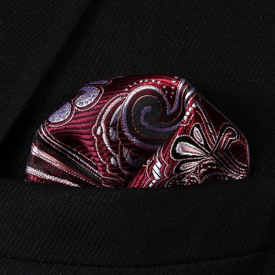 HP923U Burgundy Gray Paisley Men Silk Party Handkerchief Pocket Square Hanky
