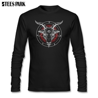 Satanic Goat Baphomet Lucifer Satan T Shirt Men 100% Cotton Long Sleeve T shirt Men Clothes Tops Printed Tshirts For Man
