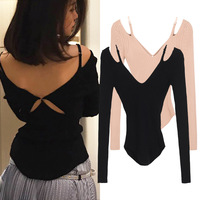 Women Autumn Solid Color Long Sleeve Sexy Camisole Back Cross Slim Knitted T Pullover Tops Ladies