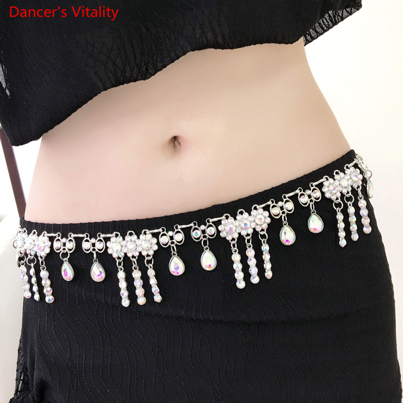 2017 Crystal Camellia Woman Dress Belt Belly Dance Waist Chain Silver Flower Fox Heart Design Free Shipping