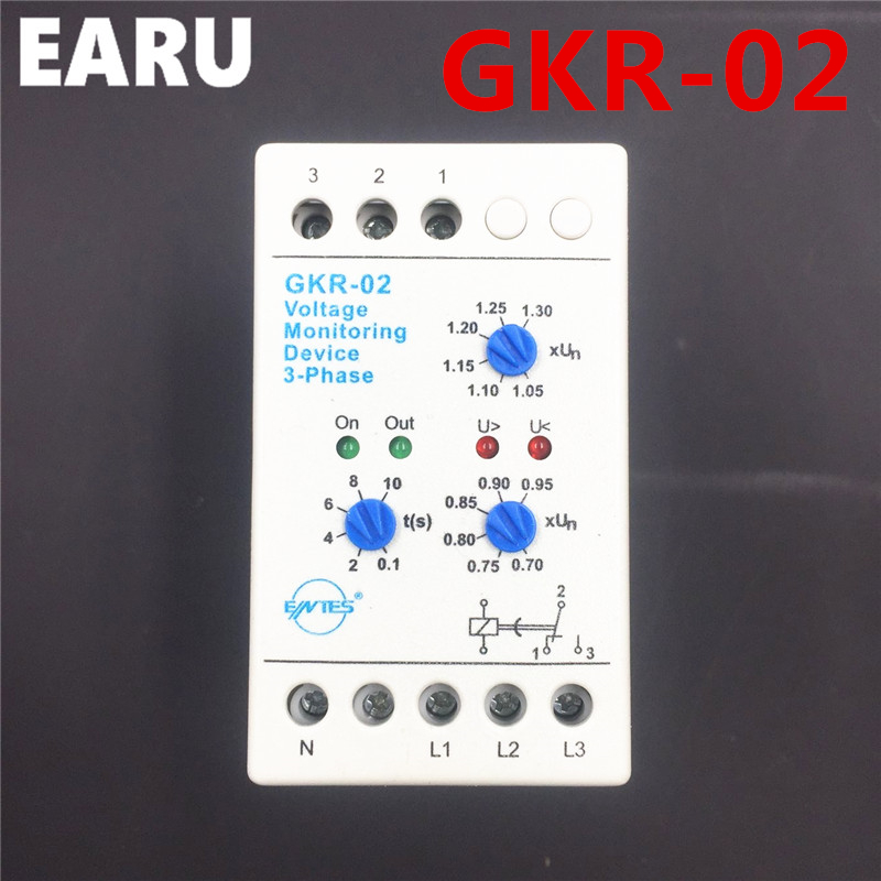 цена на GKR-02 Voltage Monitoring Device Relay GKR-02 Phase Failure And Phase-sequence Protection Relay For Motor Protection Din Rail