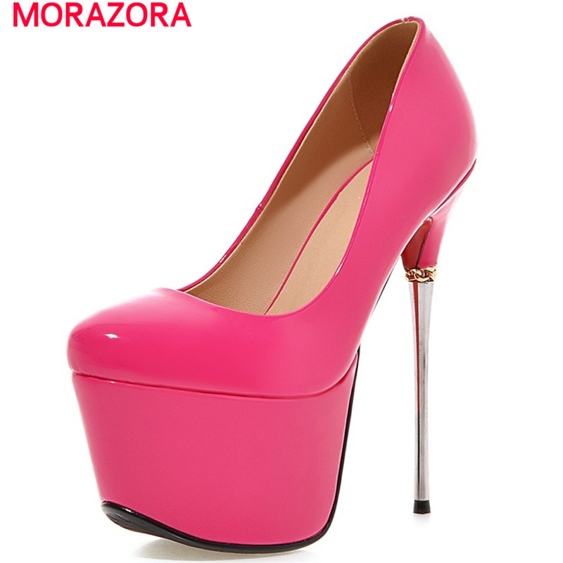 MORAZORA Wedding shoes woman sexy four seasons women shoes pumps platform thin high heels shoes 16cm big size 34-43 morazora women patent leather pumps sexy lady high heels shoes platform shallow single elegant wedding party big size 34 43