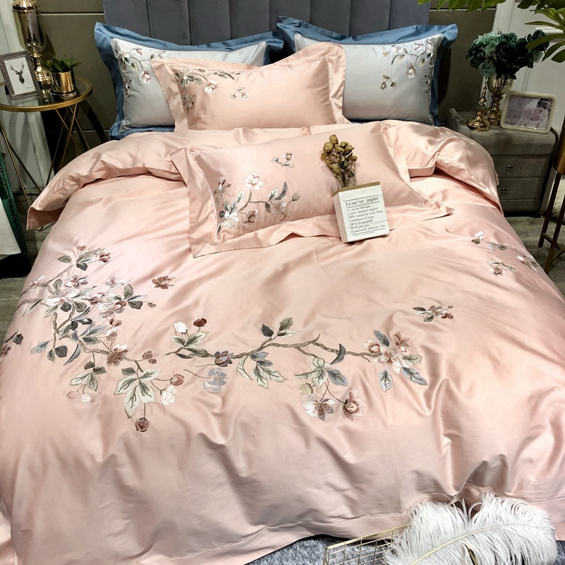Luxury 100S Egyptian Cotton Chinese Style Classical Flowers Embroidery Bedding Set Duvet Cover Bed Linen Bed Sheet Pillowcases