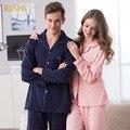 Primavera frete Grátis e Outono 100% Algodão Amantes Sleepwear Conjuntos de Pijama Xadrez Luva Cheia Camisola de Roupas Em Casa