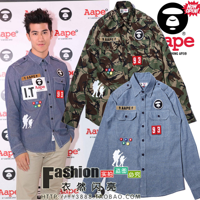 Bape aape Camouflage water wash denim shirt male casual long-sleeve  -  Guangzhou fashion clothing trade in guangdong province store
