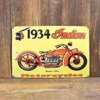 1934 Indian Series 402 Motorcycle Tin Sign Crafts 20 30 CM Plaque Sign Home Decor Shabby
