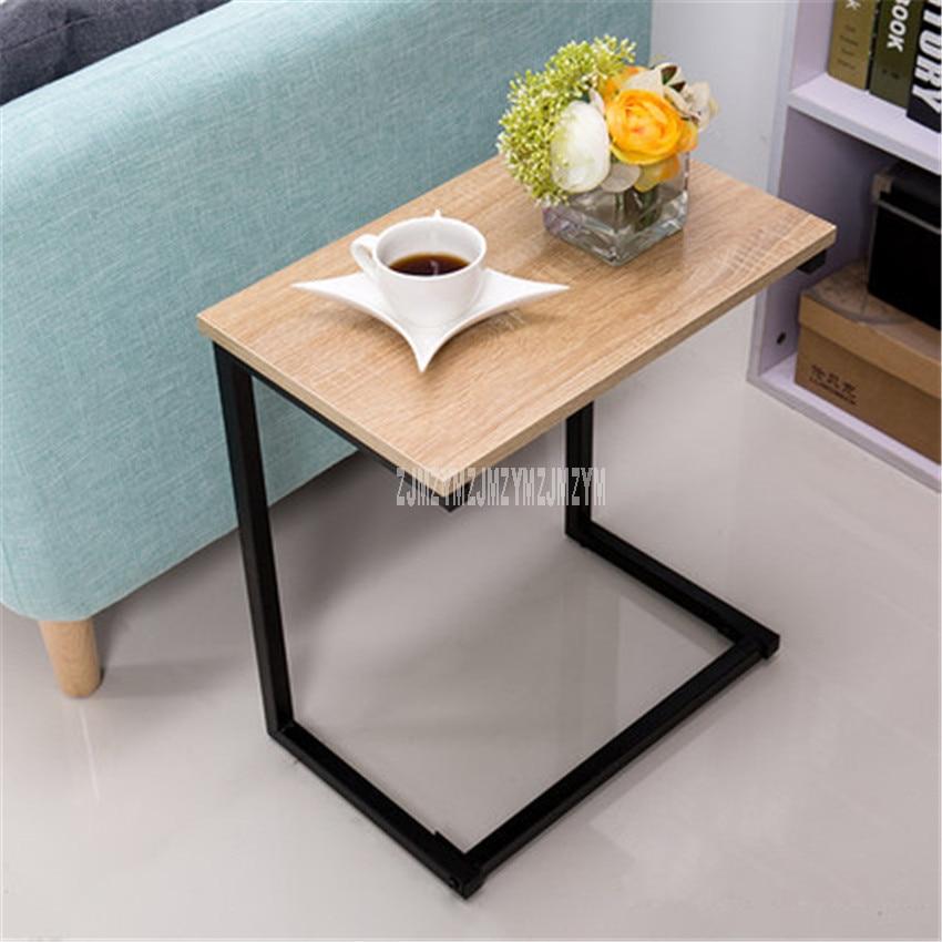 Modern European Bedside Tea Table Square Wood Desktop Iron Leg Living Room Bedroom Corner Sofa Side Simple Small Coffee Table