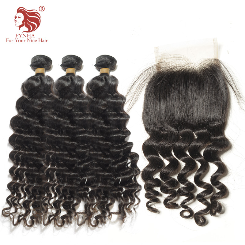 [FYNHA] Loose deep Wave 3 Bundles With Closure Brazilian Remy Hair Natural Black Wefts Human Hair Extension For Your Nice Hair