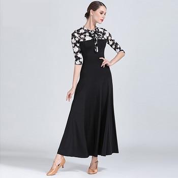 179046f209a Nuevo estilo negro de vestido de baile de competición Simple Flamenco baile  vals traje de las mujeres de alta calidad de baile de salón