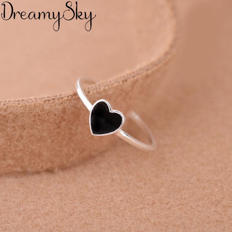 Mode Silber Farbe Schwarz Herz Ringe Für Frauen Mädchen Bijoux Engagement Erklärung Ring