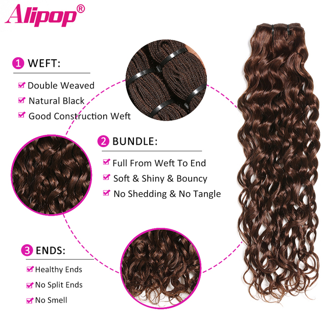Brazilian Water Wave Bundles With Closure Light/Dark Brown Colored Human Hair Bundles With Closure Baby Hair Non Remy ALIPOP 1
