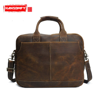Retro crazy horse skin Men shoulder bag portable men handbag genuine leather male briefcase Messenger crossbody laptop bag