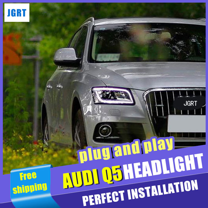 Car Styling  Headlights 2009-2016  for AUDI Q5 DoubleU Angel Eye LED DRL Lens Double Beam H7 HID Xenon bi xenon lens купить ауди q 5 2009