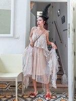 Summer Women Bohemian Beach Casual Loose Floral Chiffon Mesh Long Dress Ladies Sweet Cute Irregular Design Fringe Dress vadim