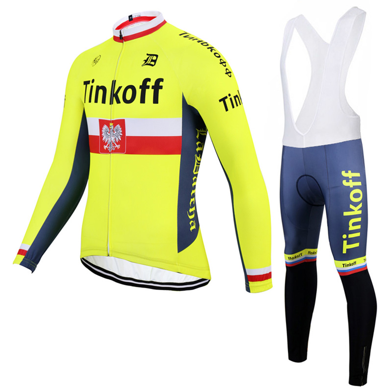 ФОТО 2017 SaxoBank Tinkoff Autumn Cycling Set / 100% Polyester Racing Bike Clothes Bicycle Clothing Ropa Ciclismo Cycling Jersey Set